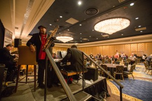 The band prepares to entertain industry professionals at Tuesday's Gala reception at the Westgate Hotel in Las Vegas.
