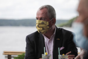 Governor Phil Murphy visits the Windlass restaurant in Lake Hopatcong on July 16, 2020